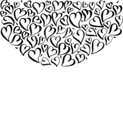 background with calligraphic hearts