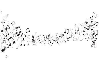 Various music notes on stave, vector