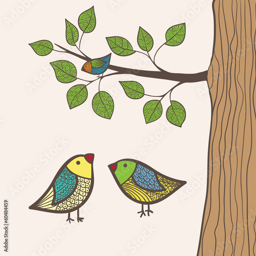 Greeting card with three birds, in vector