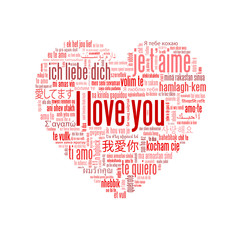 """I LOVE YOU"" Tag Cloud (heart card romance valentine's day pink)"