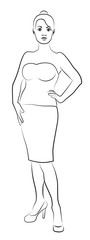 Young Woman's Contour Silhouette