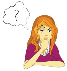 Woman thinking about...