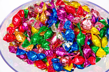 Colorful candies in a box