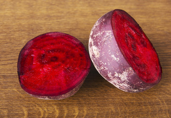 One beetroot divided into two.