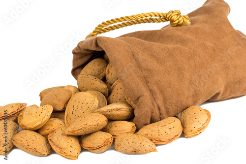 almonds and a bag on white