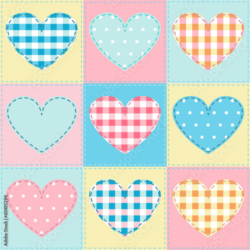 seamless background with hearts made ​​of cloth