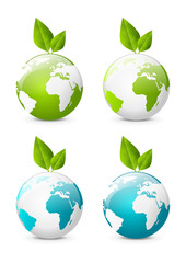 Earth globe icons with green leaves
