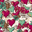 Hearts and Flowers Seamless Background