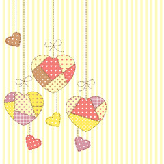 Cute hearts in patchwork style hanging