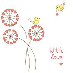 Romantic birds in love