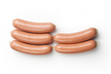 Fresh sausages isolated on white