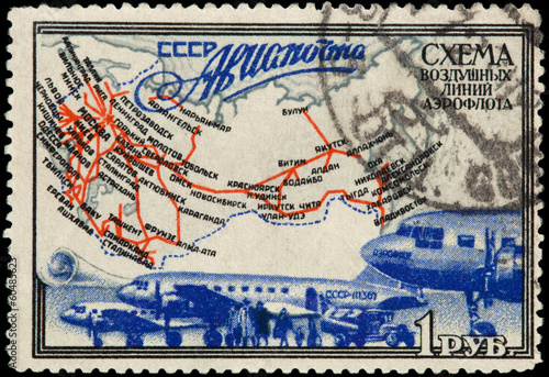 USSR - CIRCA 1949: The stamp printed in USSR shows air mail, cir