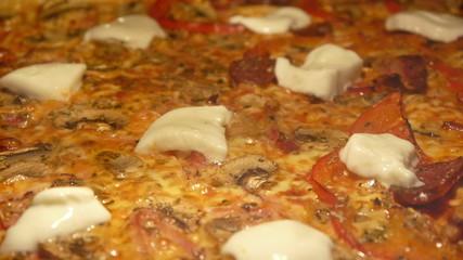 Baking pizza with mozzarella