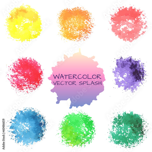 Bright watercolor vector spots