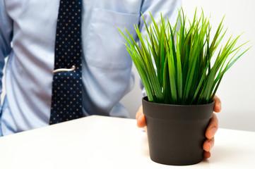 スーツのビジネスマンと植木鉢の植物