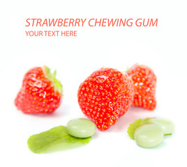Strawberry chewing gum on white