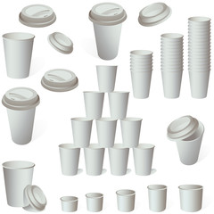 Paper cup set on white