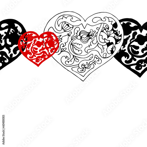 Black and white hearts vector seamless pattern