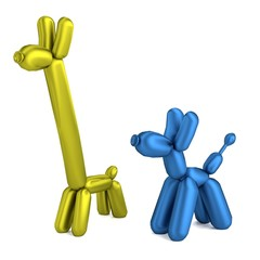 realistic 3d render of balloon animals