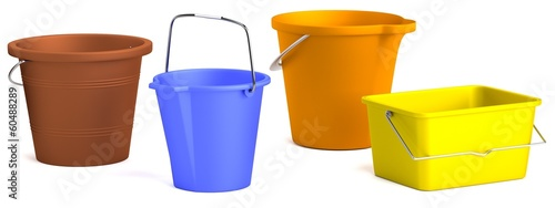 realistic 3d render of buckets