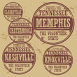 Grunge rubber stamp set with names of Tennessee cities