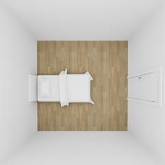 top view of bedroom interior ,3d render