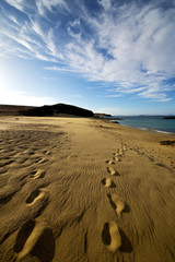 footstep in lanzarote   spain  rock stone sky