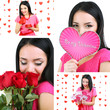 Collage of beautiful girl on Valentine's Day