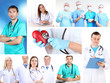 Collage of medical staff in working environment