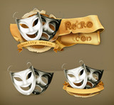 Theater masks, vector icon