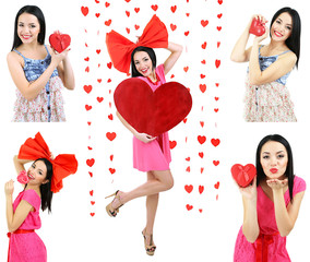 Beautiful girl with heart on Valentine's Day isolated on white