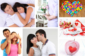 Collage of Valentine's Day. Beautiful couples