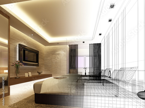 sketch design of interior bedroom