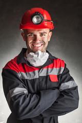 Smiling coal miner