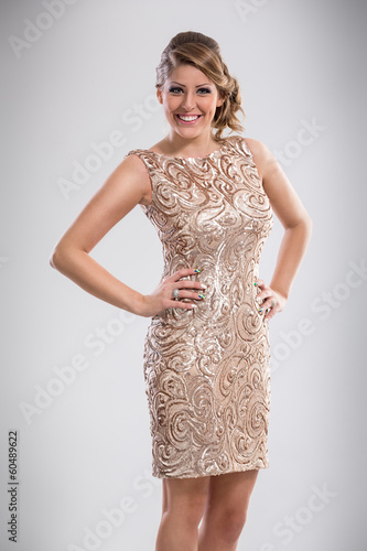 Happy woman in fashion dress