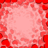 Valentines Day card with circulary scattered hearts