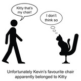 Kevin found Kitty on his chair cartoon