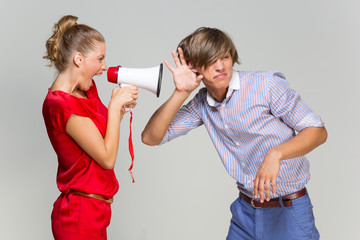 Girl screaming at boyfriend