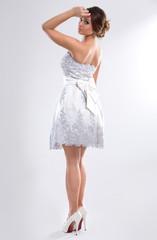 Nice woman posing in dress