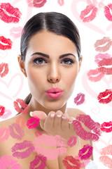 woman sending kiss