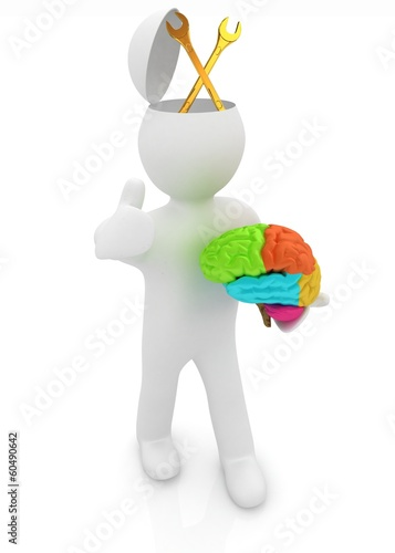 3d people - man with half head, brain and trumb up. Service conc