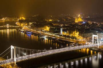 Budapest, night panorama on Danube with Elizabeth Bridge