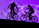 Bike polo game players active men cyclists bicycle riders in abs