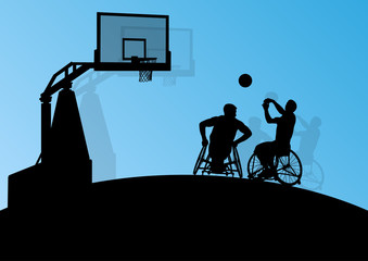 Active disabled young men basketball players in a wheelchair det