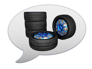messenger window icon and car wheels