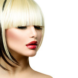 Fototapety Beautiful Fashion Woman Hairstyle for Short Hair. Fringe Haircut