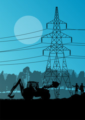 Electricity high power voltage line with construction engineers