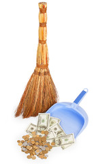 broom and money on lilac dustpan