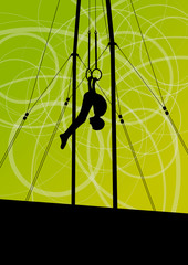 Active and strong children in gymnastics rings sport silhouette