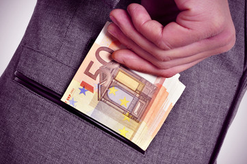 euro bills in the pocket